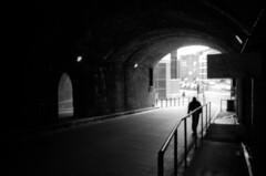 007 (Blacknoise) Tags: 2 urban bw white man black film home 35mm dark person diy leeds streetphotography pedestrian tunnel delta olympus xa2 iso 400 push analogue xa pushed process 800 processed hc ilford compact ilforddelta ilfotec