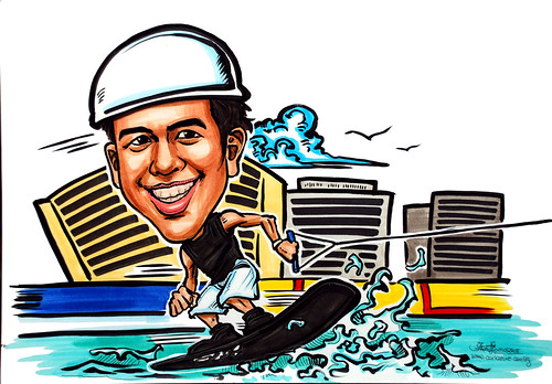 Caricature wakeboarding