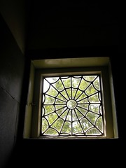 Spider web window - common motif in the Winchester House