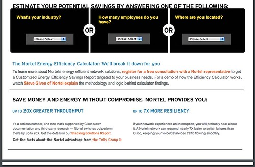 Nortel's Energy Efficiency calculator