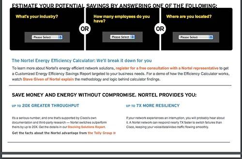 Nortel's Energy Efficiency calculator