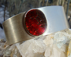 Sedona - Ammolite and Sterling Silver Cugg Bracelet (beaucoup de bijoux) Tags: silver jewelry bracelet handcrafted etsy cuff artisan gemstones sterlingsilver ammolite beaucoupdebijoux