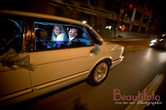 Fun on the way to the reception (beautifoto) Tags: pictures road street family flowers wedding woman toronto girl beautiful car lady canon fun happy groom bride couple dress montreal hill guelph kitchener richmond laugh bouquet mississauga unforgettable brampton tup the lemo strobist oackville lemosine theunforgettablepictures nedmansour beautifoto