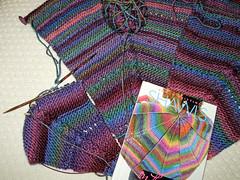 Cable shawl progress