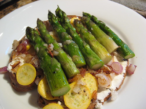 Open Faced Asparagus, Goat Cheese and Spring Onion Sandwich