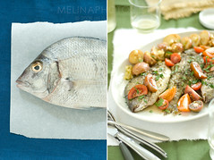 blue+green porgy story (mwhammer) Tags: blue red two portrait stilllife orange white fish green texture colors yellow guests dinner fun colorful raw tomatoes shapes busy together potatosalad dining cooked simple diptychs porgies mulitples foodstyling melinahammer stwfeedbackplease
