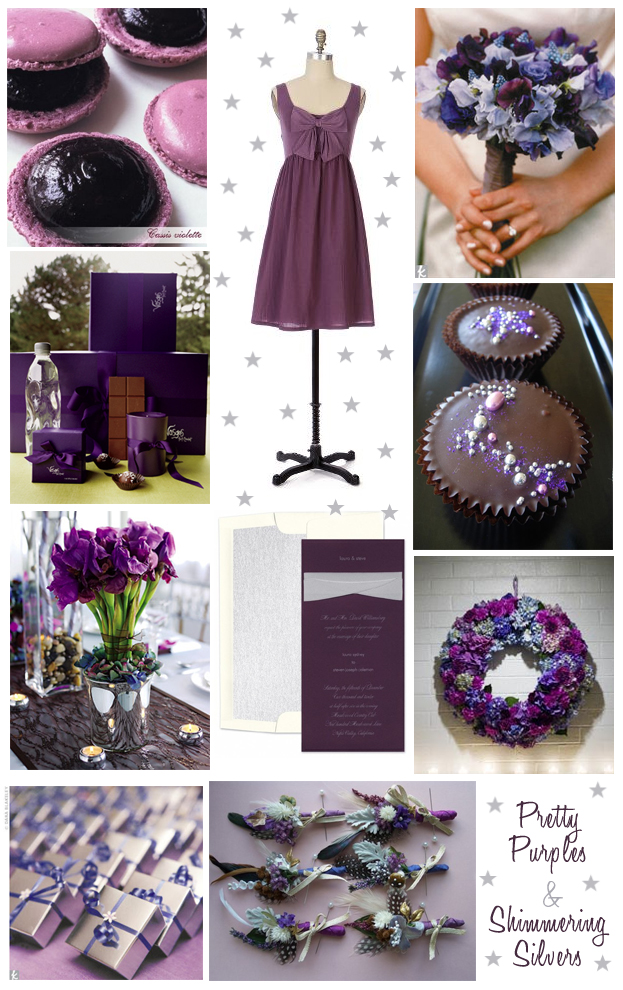 dramatic purple / violet & silver wedding inspiration