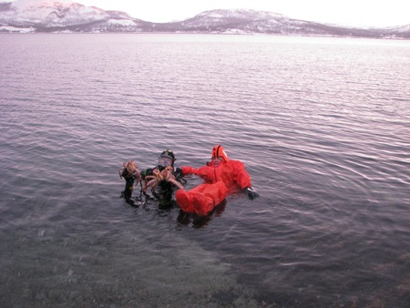 Sue Frause in a Norwegian Fjord with King Crab