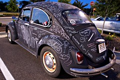 A Vintage Chalked Up (John Cachero) Tags: car delete10 vw bug volkswagen chalk paint beetle save2 doodles chalkboard type1 dmu viewonblack