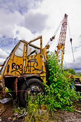 Abandoned crane (Ben Cooper) Tags: abandoned scotland rust angle crane glasgow sony wide sigma east end rusting 1020mm citycentre decaying hoist a700