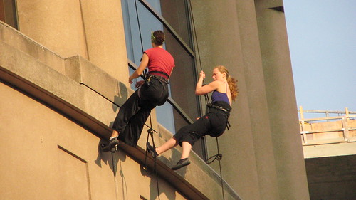 Rappelling down the library in Vancouver
