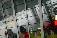 Reflet rennais (Manotche-Kat (GAP)) Tags: france window lines architecture jaune rouge construction pentax bretagne reflected reflet rennes lignes vitre baie architecte bretons passants gomtrique ilsontdeschapeauxronds portzamparc lignedroite pentaxk10d champslibresbibliothque