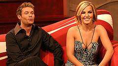Ryan Seacrest and Katie Webber on American Idol in 2004.
