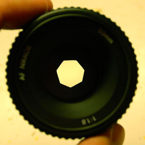 50mm f/4 lens front