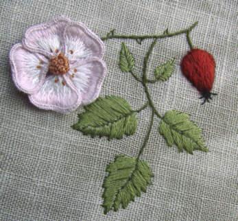 Stumpwork Wild Rose