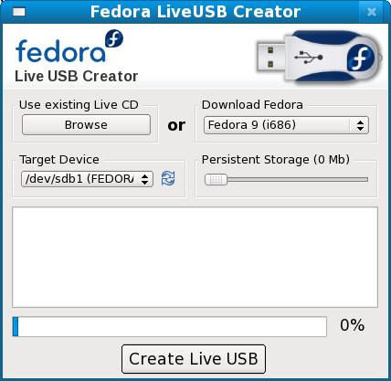 LiveUSB Creator 2.7 in Fedora 9