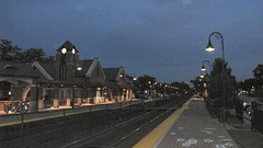 Twilight time at the Glenview Amtrak / Metra commuter rail station. Glenview Illinois. August 2008.
