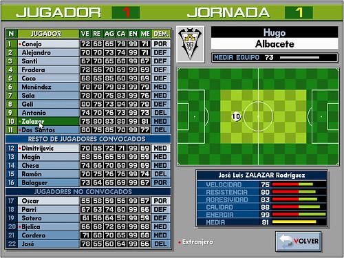 Definición de alineaciones y demarcaciones en PC Fútbol 2.0