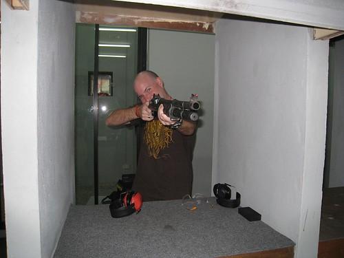 A poser with a shotgun