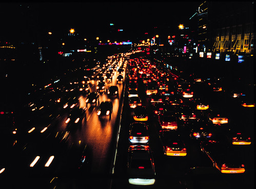 Driving at night, Beijing. Photo by Sonya.
