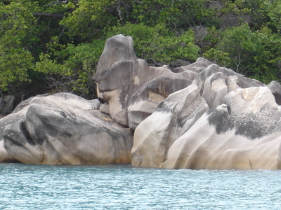 Granite rocks near La Reserve on Praslin