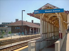 The Metra Western Avenue commuter rail station. Chicago Illinois. June 2007.