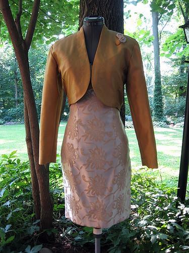 Upcycled Gold Strapless Dress with Bolero