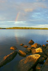 End of the Rainbow (WOODSHED Revisited) Tags: ely minnesota biglake echotrail loon island camping northwoods lake campsite pentax k100d justpentax rainbow landscapesshotinportraitformat dslr digital