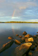 End of the Rainbow (FlappinMothra) Tags: camping lake minnesota digital island rainbow pentax ely dslr campsite loon northwoods biglake echotrail blu