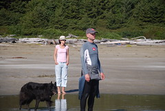 Molly and Dave watching me try to surf