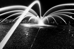 The Salmon Street Spider (Ar'alani) Tags: street city longexposure blackandwhite fountain night oregon portland salmon friday