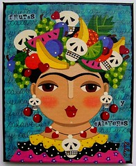 Frida, Fruits and Skulls by LuLu (MyPinkTurtleStudio) Tags: art fruits painting dayofthedead mexico skull folkart ebay lulu frida mexican spanish diademuertos carmenmiranda fridakahlo vectorg mypinkturtle