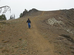 Greg coming down the steepest dirt/rock part near the summit of Miller Peak.