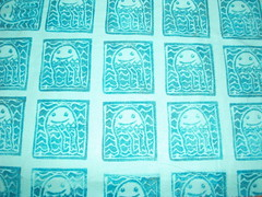 sea invaders hand printed fabric. (stephiblu) Tags: jellies jellyfish handmade craft september textile fabric printing printmaking fiberart 2008 printed fibers seacreatures stephtichenor handprintedfabric