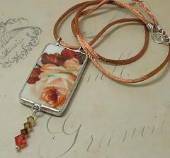 Broken China Peachy Rose Pendant (auntgriz) Tags: autumn red rose necklace beads handmade ooak fallcolors peach pendant swarovskicrystal sterlingsilver brokenchina satincord