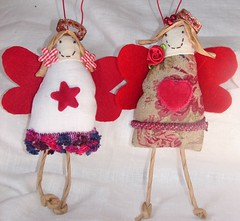 Christmas angel (Roxy Creations) Tags: christmas flower angel beads handmade linen lace embroidery wreath christmasdecoration etsy trim pompom