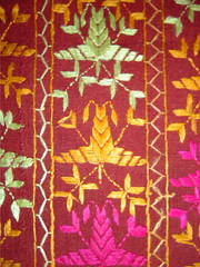double bed cover I close up (KritIndia) Tags: bagh bedcover phulkari silkembroidery khaddar darnstitch