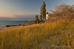 Point Betsie at Sundown (Jennifer_4444) Tags: autumn lighthouse beach grass sand sundown dune lakemichigan frankfort pointbetsie benziecounty 18200vrlens nikond80 theunforgettablepictures vosplusbellesphotos