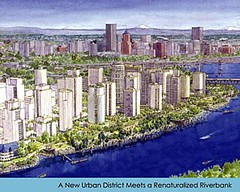 rendering of the South Waterfront (by: Buster Simpson for Portland Parks & Recreation)