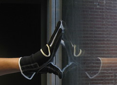 glove (Maicdlphin) Tags: black reflection window canon hand powershot indoors gloves glove a590