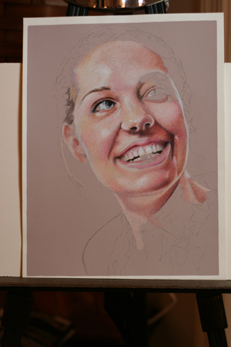 Photo of in progress drawing entitled Rachel