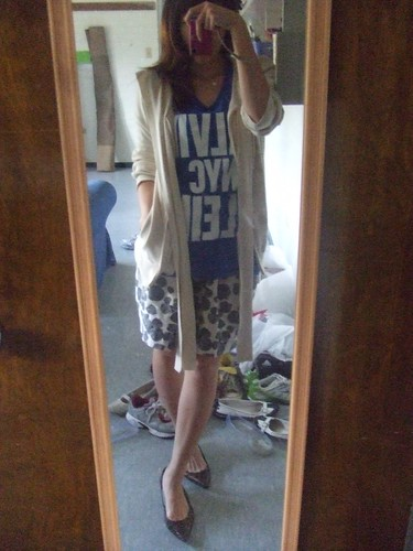 Cream Hoodie, UO; Blue T and Black/White Tulip Skirt, Calvin Klein; Bronze Kitten Heels, Carlos Santana