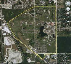Prairie Crossing is inside the yellow border (image by Google Earth, boarder by me)