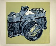 manual camera reduction linoleum print