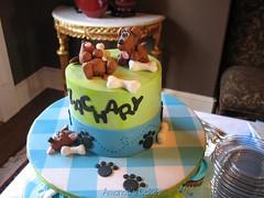 Zachary's Baby Shower Cake (mandotts) Tags: blue green dogs puppy paw prints zack checkered babyshower dogbones babyboy zackary puppylovetutorial