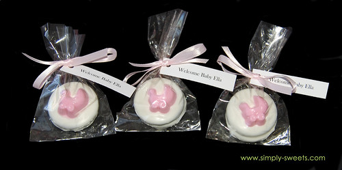 pink baby carriage chocolate dipped oreo baby shower favors