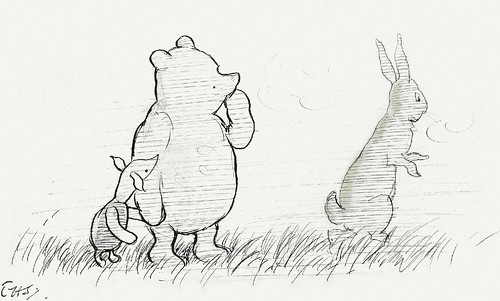pooh bear, piglet and rabbit