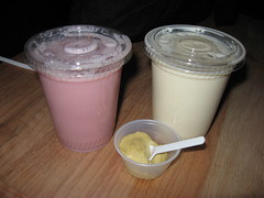 Momofuku Bakery & Milk Bar: Tristar strawberry milk, Cereal milk and Salty pistachio caramel - sample