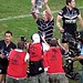 Wayne Bennett lifts Rugby League World Cup trophy