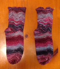 Toe Up Feather & Fan Socks in Handpainted Sock Blank - Flat